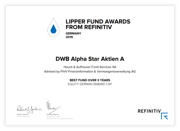 Lipper Fund Awards from Refinitiv - Urkunde